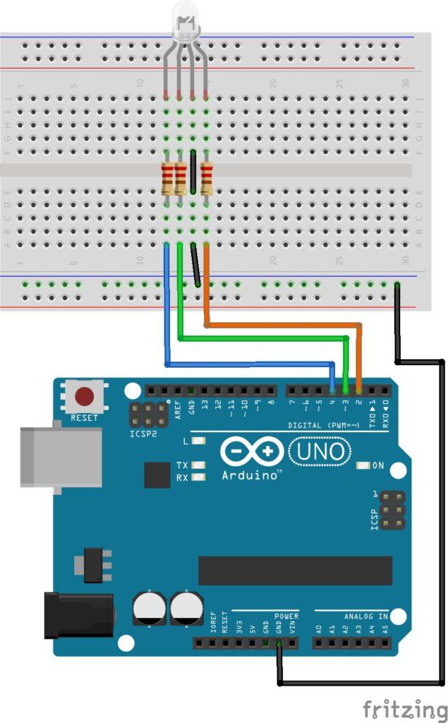 zapojení rgb led s deskou arduino uno